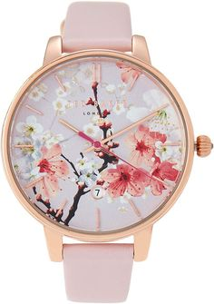 nostalgic romantics with the painterly floral backdrop on this watch - Women's Ted Baker London Kate Round Leather Strap Watch, [ad] Rose Watch, Pink Watch, Cute Watches, Stylish Watches, Pink Jewelry, Cute Jewelry, Ted Baker Watches, Beautiful Watches, Pink Leather