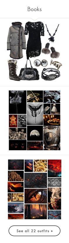 """Books"" by vicipokemon ❤ liked on Polyvore featuring Moschino, Khombu, DIVA, Closed, Religion Clothing, Overland Sheepskin Co., art, FOOTPRINTS, Oscar de la Renta and Free People"