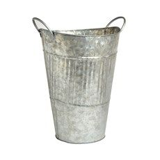 Galvanized Metal French Flower Bucket - Christmas Tree Shops and That! - Home Decor, Furniture & Gifts Store Flower Bar, French Flowers, Galvanized Metal, Chalkboard Signs, Metal Tins, Gift Store, Decorative Accessories, Bucket, Christmas Tree