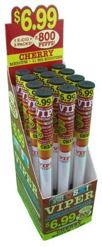 12 Pack of Viper Disposable E-hookah with Soft-tip. Longest Lasting Electronic Hookah Pen / Stick Available. (Cherry Hookah) by Viper E-Hookah, http://www.viperecig.com/disposable-electronic-hookah-flavors/soft-tip-disposable-800-puff-electronic-hookah-12-packs/cherry-medium-nicotine-12-count.html