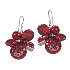 Aeravida Cluster Flower Coral Stone .925 Silver Dangle Earrings