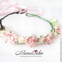 """Венок """" Нежное лето"""" - белый,ободок для волос,венки на голову,венок с цветами"""