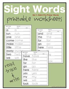 just Sweet and Simple: Preschool Practice: Printable Dolch Site Word Worksheets