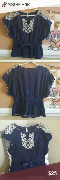 """Anthropologie Floreat Top - Size M Classic Anthropologie Floreat brand. In excellent  condition. Dolman sleeve top with elastic banding around the waist. Original owner. All my clothing comes from a clean and smoke-free home.  Flat measures: 18"""" bust, 16"""" - 17"""" waist (stretches), 25"""" length. 100% Cotton. Anthropologie Tops Blouses"""