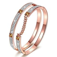 JNINA-London-Impression-Rose-Gold-Plated-Bracelet-with-Swarovski-Crystals-Dimensional-Chain-Bangle