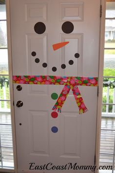 Snowman Door... simple DIY Home Decor Project that the kids will love helping to create. Cute! i like this idea for the fridge as well