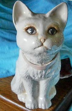 """Vintage Handpainted Cat Large White Ceramic Type Figurine Unique 9"""""""