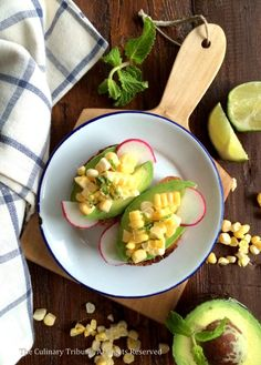 Avocado Toast with Mint Lime Corn Salad