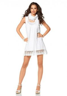 Dress with shawl, white