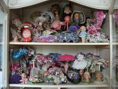 Nostalgia at the Stone House... Stunning collection of flapper doll hat stands and other yummy vintage pretties