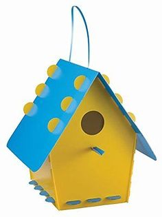 NEW-Tweet-Tweet-Home-Bird-House-Classic-Yellow-Blue