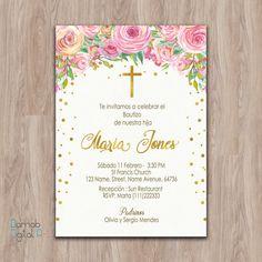 Bautizo invitations, invitaciones de bautizo, invitations de bautizo, spanish baptism invitation, Baptism Invitation girl, invitacion