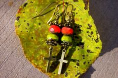 Rustic Brass Boho Cross Earrings with Coral Red & Avocado Green Czech Glass Picasso Beads by CreativeCutes on Etsy, $16.95