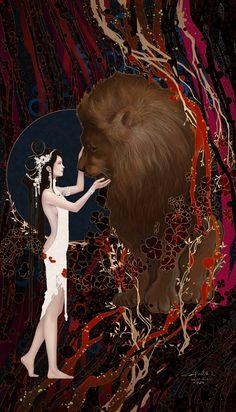 Tarot 08 Strength by Casimir Lee Strength Tarot, Tarot Decks, Art Inspo, New Art, Art Reference, Fantasy Art, Cool Art, Concept Art, Art Photography
