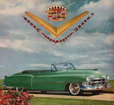 1952 Cadillac convertible car print ad Green model by Vividiom, $8.00