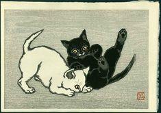 Two cats playing: Shunsen Natori (1886-1960)