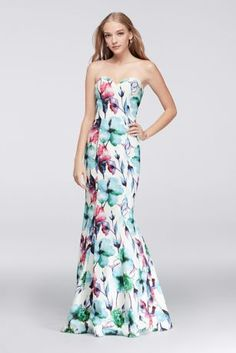 Floral prints feel fresher than ever for prom, particularly when blooming on a sleek and simple, sweetheart-topped mermaid dress.  By Glamour  Polyester  Back zipper; fully lined  Dry clean  Imported