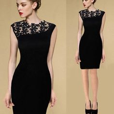 Fashion Women's Lace Sleeveless Bodycon Cocktail Evening Party Pencil Mini Dress #OWNBRAND #StretchBodycon #WeartoWork