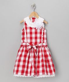 Another great find on #zulily! Red & White Gingham Ruffle A-Line Dress - Toddler & Girls #zulilyfinds