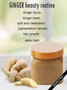 Ways to Use Ginger in Homemade Beauty treatments - ginger scrub, mask, detox bath, hair growth and much more...