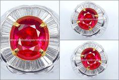 Super Vivid Red RUBY Cut Mogok Burma. Serti GRS. TOP & Sangat Langka ( RBC 072 + Sertifikat )