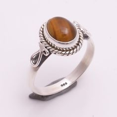 925 Sterling Silver Ring US Size 7, Natural Tiger Eye Handmade Jewelry R1607 #Handmade #Fashion #Christmas