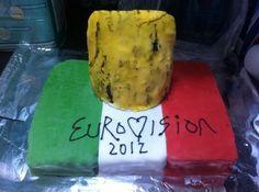 Jedward Eurovision Cake Irish flag with Jedward quiff. Lime, lemon & orange coloured madeiras covered with fondant Fondant, Lime, Cheese, Food, Limes, Essen, Meals, Gum Paste, Yemek
