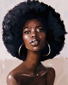 Black Love Art, Pretty Black Girls, Black Girl Art, Black Girl Magic, Art Girl, Black Art Painting, Black Artwork, Afro Painting, African American Art