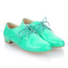 $20.28 Laconic Sweet Casual Women's Spring Flat Shoes With Candy Color Lace-Up and Patent Leather Design