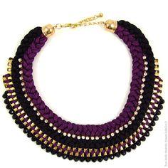 Collier plastron Double Tresse bicolore. Noir/Violet - Bijoux Fantaisie/Colliers courts - Bulle2co