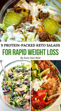 9 Crazy Filling, Protein-Packed Keto Salads for Rapid Weight Loss Need some healthy low-carb salad recipes for the ketogenic diet? Stay full for hours by preparing one these delicious crazy filling, protein Salad Recipes To Lose Weight, Salad Recipes Low Carb, Lunch Recipes, Healthy Dinner Recipes, Diet Recipes, Dessert Recipes, Diet Tips, Smoothie Recipes, Breakfast Recipes