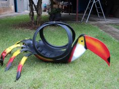 Toucan.  Great color and large.  Will make a great hanging planter.  You can make this project too with a little help from http://shop.tirecrafting.com/