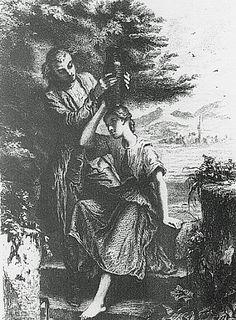 Werther Franse editie (1845): Werther helpt een dienstmeisje met het dragen van een kruik