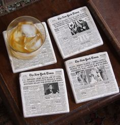 Retrace the past with a set of New York Times front page coasters made from a marble tile.
