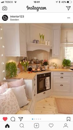 This is such a cute placement, I would never have thought of a corner stove . - This is such a cute placement, I would never have thought of a corner stove …. This is such a cute placement, I would never have thought of a corner stove …. Home Decor Kitchen, Country Kitchen, Kitchen Interior, New Kitchen, Home Kitchens, Cozy Kitchen, Kitchen Stove, Swedish Kitchen, Kitchen Yellow