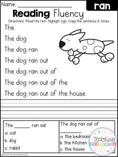 FREE Kindergarten Reading Fluency and Comprehension.: