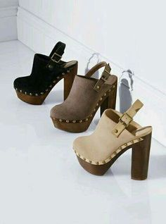 Heeled Mules with straps and studded details