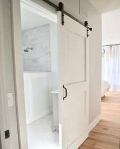 Closet doors are important, yet typically ignored when it involves room decor. Produce a new look for your room with these closet door ideas. It is necessary to create unique closet door ideas to enhance your home decoration. Bathroom Barn Door, Diy Barn Door, Barn Door Hardware, Sliding Door For Bathroom, Bathroom Closet, Barn Door In House, Barn Door Handles, Bathroom Laundry, Bathroom Spa