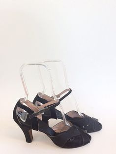 40s Satin Black Peeptoe  Heels / 1940s by CheshireVintageShop