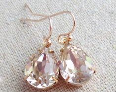 Swarovski Crystal Blush Pink Teardrop Simple Delicate Dangling Rose Gold Bridal Earrings Wedding Jewelry Bridesmaids Gifts