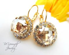 Gold Champagne Earrings Swarovski Crystal by BeYourselfJewelry, $49.99