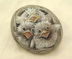 painted rocks | Hand Painted Rocks baby bird nest by Naturetrail on Etsy