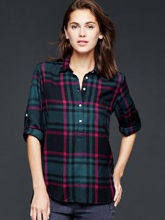 Flannel roll-sleeve henley
