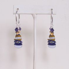 Baltimore Ravens Earrings, NFL Ravens Purple and Gold Crystal Snowman Charm Pro Football Earrings, Christmas Accessory by scbeachbling on Etsy