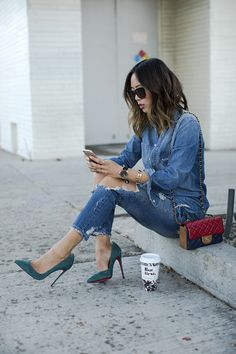Aimee Song Of Style Denim Shirt Ripped Denim Jeans Christian Louboutin Pumps Chanel Multi Color Bag
