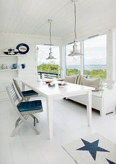 A Nordic style beach cottage . lamps . nice place at the window with a nice view .