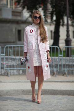 Embellished jacket over lace dress