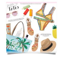"""""""Beach Totes"""" by anchilly23 ❤ liked on Polyvore featuring Kate Spade, Gottex, Miss Selfridge, Sheriff&Cherry, NARS Cosmetics and Herbivore"""