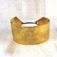 Wide Brass Cuff Hammered Deco Bracelet by failjewelry on Etsy, $48.00