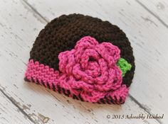 Crochet Baby Beanie with Rose by Adorably Hooked